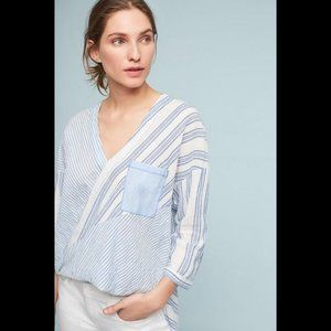 anthro Holding Horses blue striped hi-low blouse